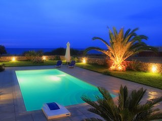 Beautiful shot of the swimming pool at night