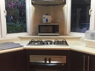 Fitted kitchen with hob, oven, fridge freezer, microwave and all utensils for self catering