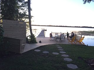 Large deck, outdoor shower, and the dock