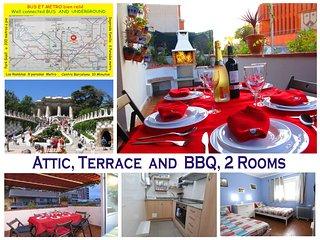 Atico, terraza & Barbacoa, Park Güell, Metro junto al apartamento