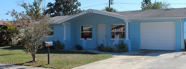 Bright blue welcome to your vacation home!