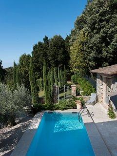 Blue sky from July to September above Villa Montebello`s gardens