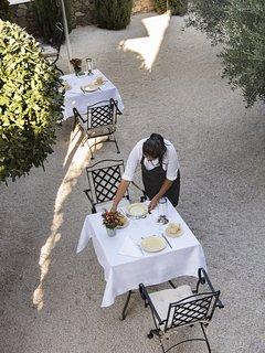 Breakfast is being prepared in the courtyard -