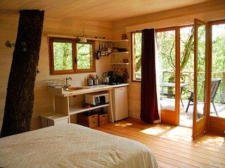 Cabane en forêt dans une nature calme et sereine., Brassac