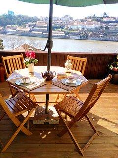 Balcony dining.