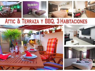 Penthouse apartment, 3 bedrooms, Terrace and BBQ. RF, Viladecans