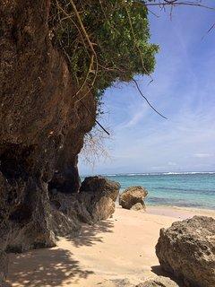 Pristine white sand Secret beach below the villa