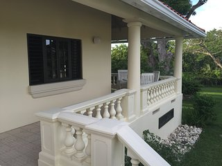 The villa has a private wrap around verandah.