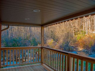 View from front porch of stream and wooded area.