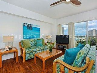 Oceanview 1-bedroom, full kitchen, washer/dryer, A/C, WiFi, sleeps 4., Honolulu