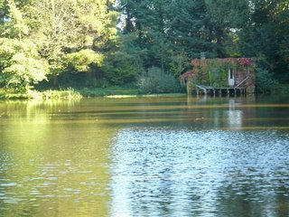 Eco friendly lakeside holiday cabin in the heart of rural France on private lake, Saint-Priest-les-Fougères