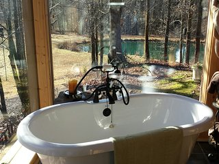 Frog Call 52 acre pvt. retreat, cabin sleeps 6,  plus treehouse, bunkhouse, pond, Dahlonega