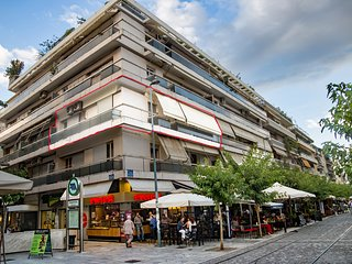 The apartment and the Acropolis pedestrian zone