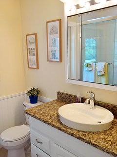 Guest Bathroom with tub, leading to the pool deck