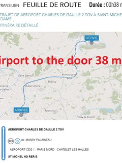 1H09 from the CDG airport to the apartment by direct RER train