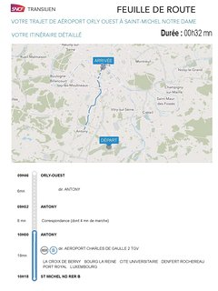 0H55 from the Orly airport to the apartment by direct RER train