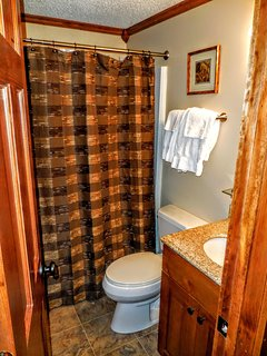 Private master bathroom with tub & shower