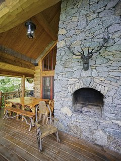 Outdoor fire place at Red Stag Lodge.