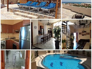 eigene Dachterrasse, Meerblick, free WiFi, Pool, 200m Strand, Paradise Compound, Hurghada