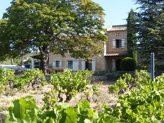 Mas en pierre dans le Luberon entre vignes, oliviers et lavandes avec piscine