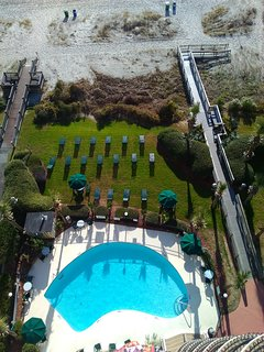 Beautiful outdoor pool, lawn and ocean!! Soak up the sun and fun . . .