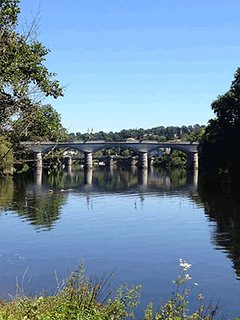 View from the town beach area, aside the river vienne, beautiful picnic area and kayak hire. 200m