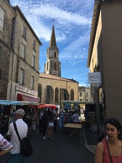 Confolens town centre, beautiful summer day, market day with the fresh produce from the region.