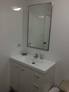 Bathroom mirror and vanity