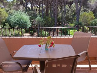 St Maxime.Apt.2Pieces, terrasse sud au calme.4 pers.150m plages, piscine,parking