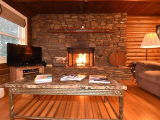Log Cabin Wood Burning Fireplace Hot tub Pool