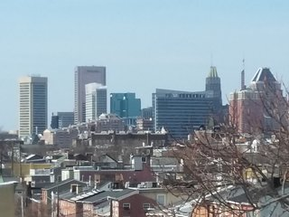 City view from the rooftop deck