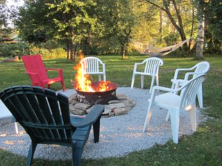 campfire pit in the back yard
