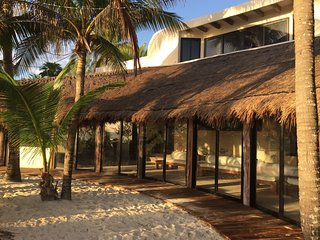 Spacious Oceanfront home at the end of Tulum beach...secluded yet accessible!