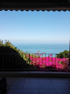 The view of the sea over the bougainvilla from the main bedroom
