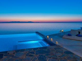 Stunning seafront luxury designer villa with swimming pool, Tersanas