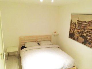 Queen size bed in master bedroom
