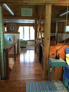 Bridge to back sleeping  space in the loft