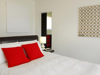 Master Bedroom with with walk in robe, huge ensuite with bath