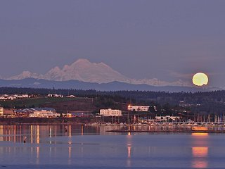 Mount Baker, Oak Harbor Marina and moon rise - from the deck!