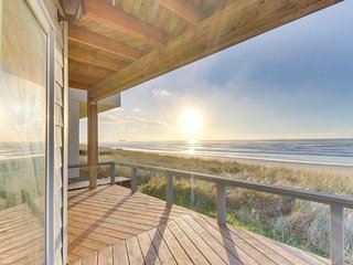 Spacious oceanfront home with great views - the beach is your back yard!
