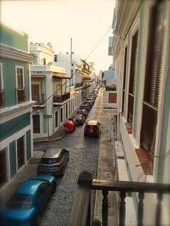 The view to cobblestoned Sol Street