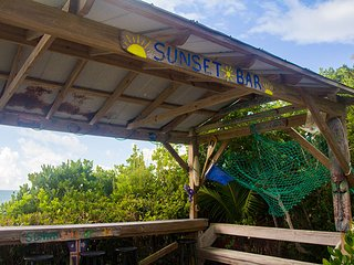 The sunset Tiki bar just off teh dock on the waterfront.