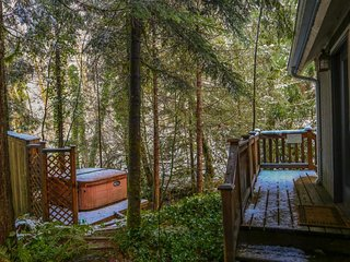 Rustic and cozy creekside home w/ private hot tub, close to ski areas!, Rhododendron