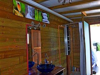 salle de bain avec douche à  jet, à l'italienne