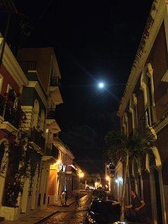 Romantic Old San Juan in the moonlight
