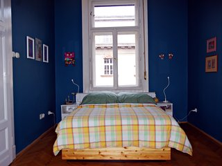 Large Blue Bedroom in Our BudaBaB Bed and Breakfast