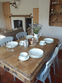 beautiful french farmhouse dining table in living room