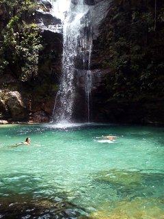 Cachoeira Santa Bárbara,  em Cavalcante, Goiás.