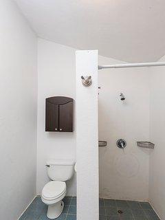 Pool house indoor bathroom