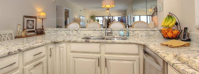 Views of the Gulf from this beautiful kitchen at Arie Dam 503 in Madeira Beach